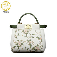 PMSIX 2017 New Floral Printing Small Mini Leather Shoulder Bag Cat Messenger Bag Luxury Handbags Women