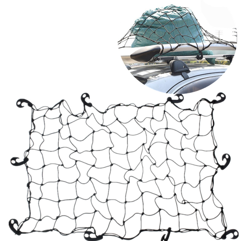 Car SUV Truck Trailer Cargo Car Roof Rack Basket Organizer Net Car Roof Bag Multipurpose Elastic Mesh Luggage Rope Cover