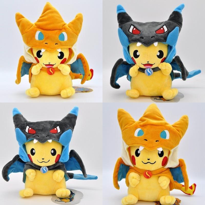 Cute Spitfire Dragon Pikachu Plush Doll Toy Stuffed Soft Anime Pikachu Cartoon Toy Gift For Kids Baby Children Good Quality