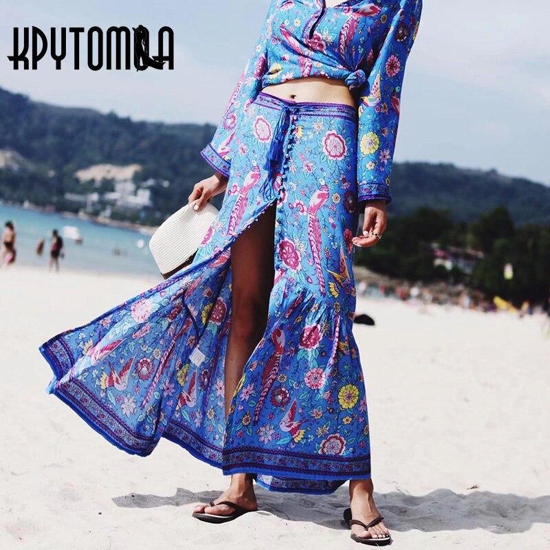 Boho Vintage Birds Floral Print Long Skirt Women 2018 New Fashion Summer Elastic Waist Lace Up Split Casual Ladies Beach Skirts