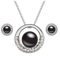 Classic parel sieraden set oostenrijkse kristal ketting en oorbellen parel hanger wit goud kleur bruiloft sieraden set
