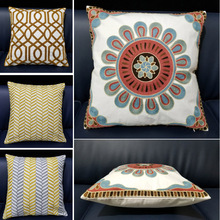 Nordic Style Thicken Sofa Cushion Cover Yellow Embroidered Pillow Cover Geometry Decorative Pillow Case Sofa Seat Car Pillowcase недорго, оригинальная цена