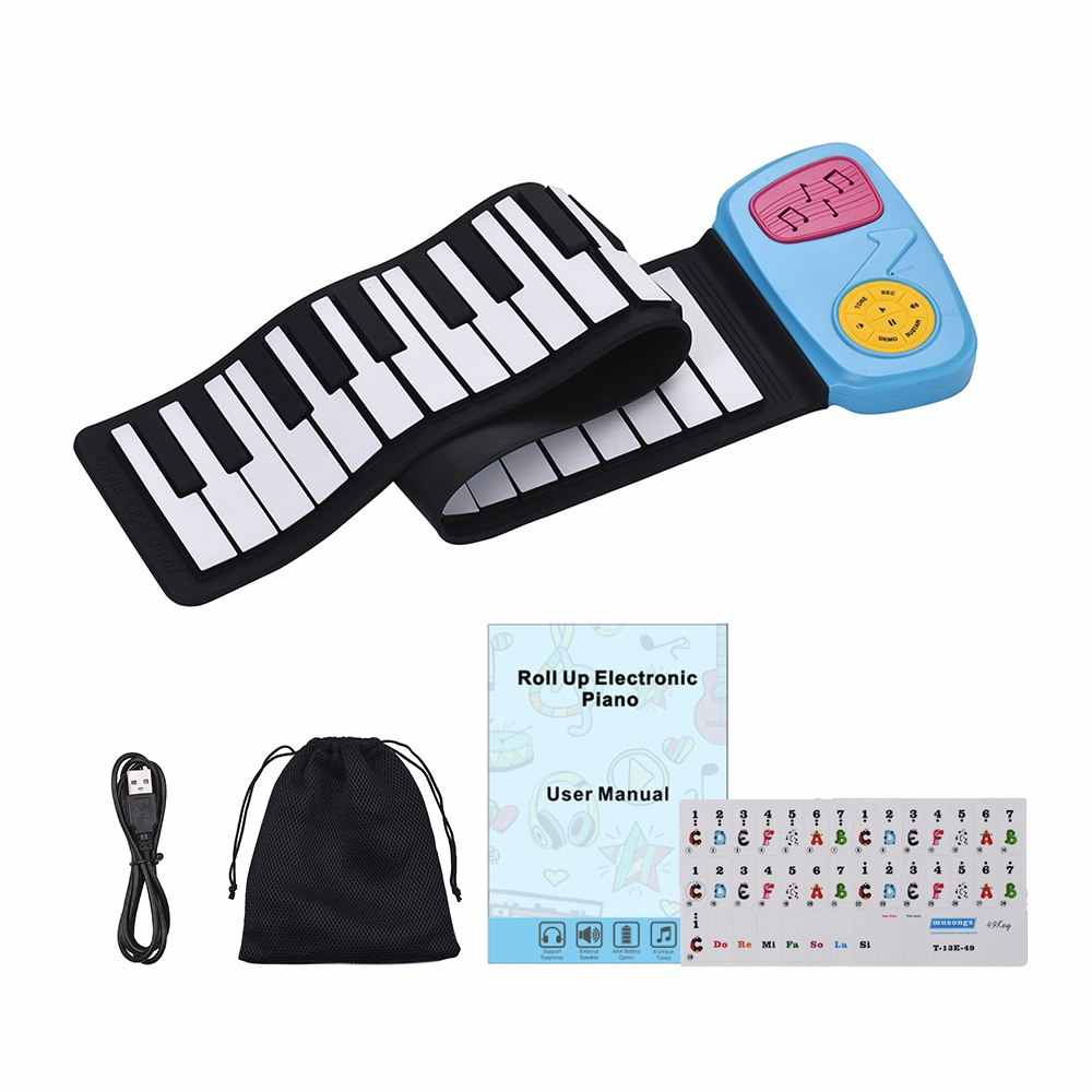 Portable 49 touches silicone clavier électronique enroulable Piano haut-parleur intégré avec autocollant de bande dessinée pour les enfants enfants