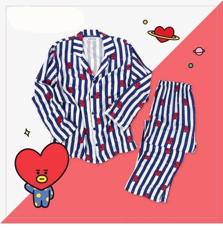 Kpop a casa para BTS Bangtan niños BT21 de dibujos animados de la versión v suga mismo Harajuku pijamas de camisa de manga larga noche de las mujeres de los hombres bedgown