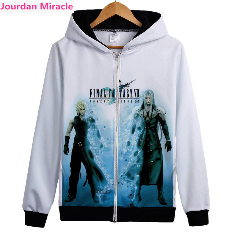 Final Fantasy FF7 Cloud Sephiroth men unisex zip up hoodie cool game hooded sweatshirt coat fleece inside organic drop Shipping