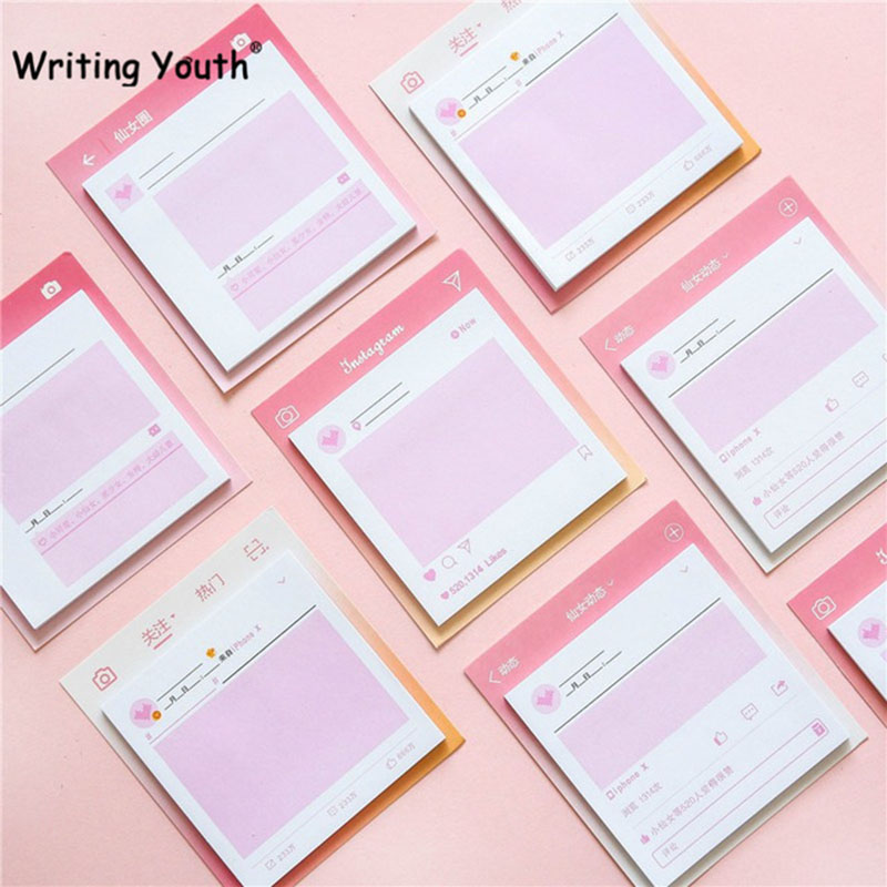 30 Ppages Japanese Pink Girl Sticky Notes N-Times Kawaii Memo Pad Stationery Papeleria School Supplies Material Escolar