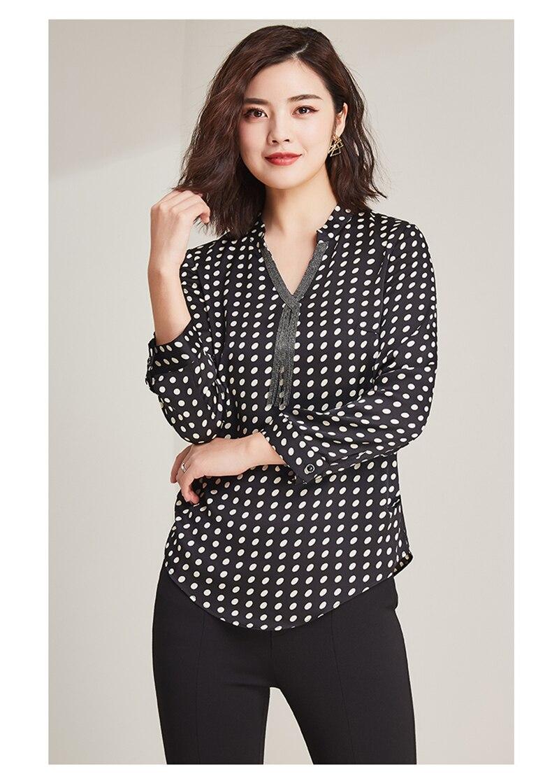 2019 nueva moda 100% poliéster suave telas finas mujeres puntos impresión camisetas Vneck manga larga Camisetas talla grande L 6XL - 5