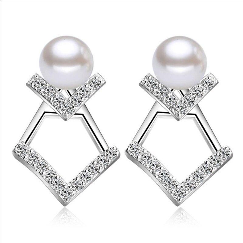 KOFSAC новые модные серебряные серьги гвоздики 925 пробы Роскошные серьги с фианитом и жемчугом для женщин Свадебные Серьги Brincos Bijoux Серьги      АлиЭкспресс