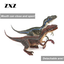 ZXZ Jurassic Park Raptor Velociraptor Blue Dinosaurs Classic Toy For Boy Animal Model Mouth Can Open Close & Detachable Arm 2pcs(China)