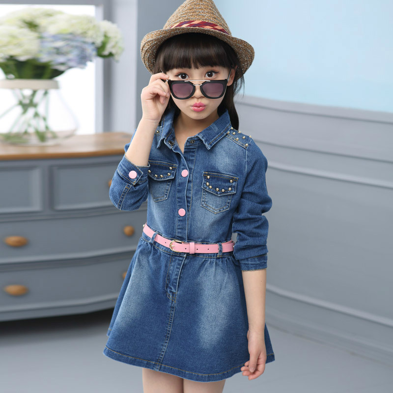 ФОТО Girls Denim Dress 2017 New Clothing For Girls 3~12 Years Cotton Girls Party Dress Teenager Girls Spring Dresses