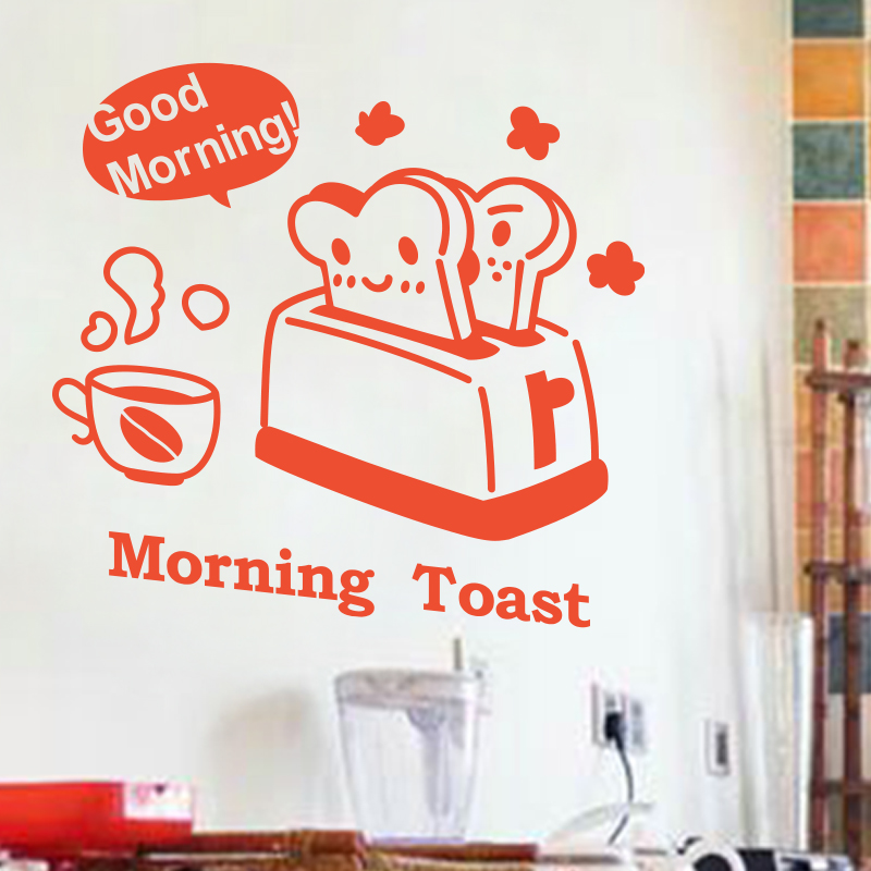 Free Shipping Art Design Kitchen Decor Good Morning Vinyl Wall Sticker PVC Home  Decor Cartoon Toast Bread Decals On Cabinet In Wall Stickers From Home ...
