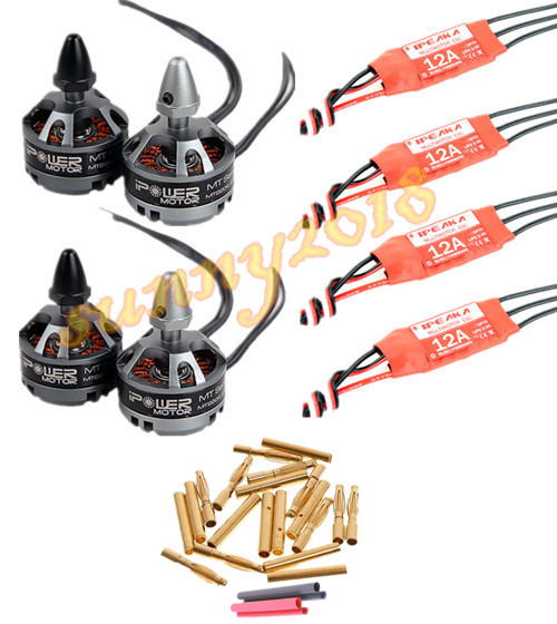 4x iPower MT2204 2300KV Motor 20 pair 2 0mm gold bullet connect 4x iPeaka BLHeli 12A