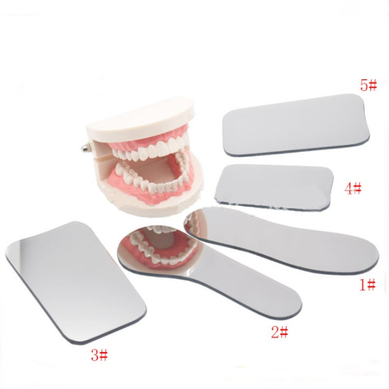 5 Pcs Dental Orthodontic Double-Sided Mirrors Reflector Dentistry Intra Oral Glass Coated Titanium Dental Photography Mirrors