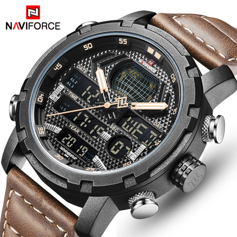 New NAVIFORCE New Men's Fashion Sport Watch Men Leather Waterproof Quartz Watches Male Date LED Analog Clock Relogio Masculino