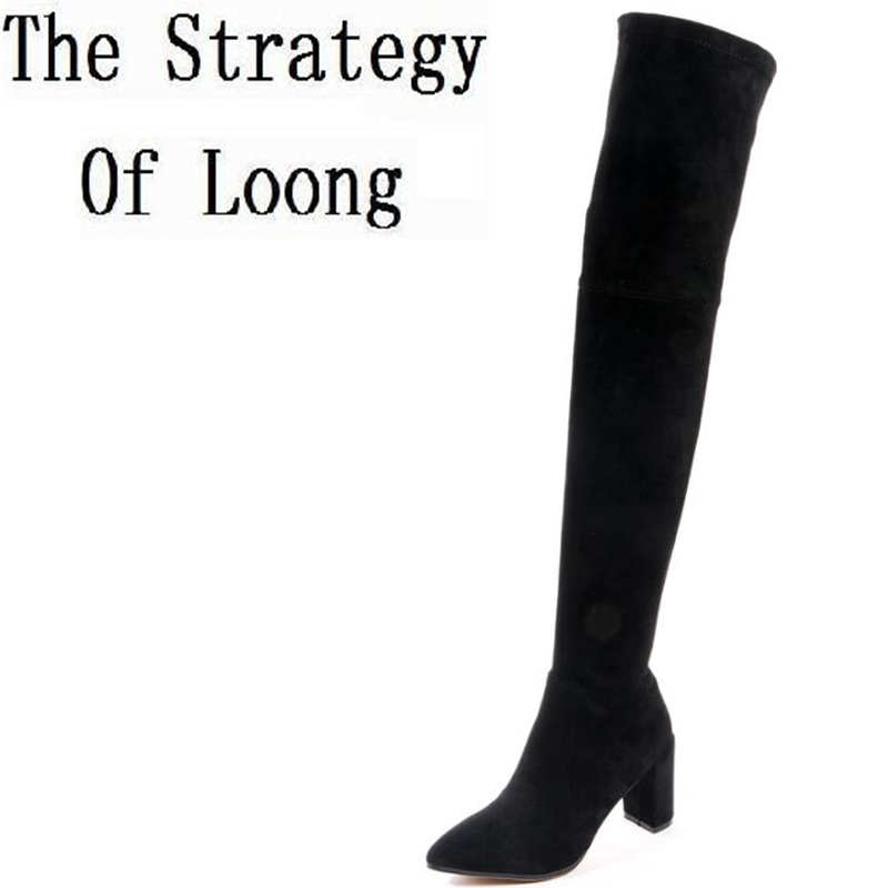 Winter Pointed Toe High Heels Genuine Leather Women Long Boots Knight Short Plush Over The Knee Thigh High Boots ZY170913