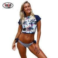 Sea Girl 2017 Sexy Sporty Swimwear Women Bathing Suit Beach Sunset Tie Side Bottom Tankini Brazilian