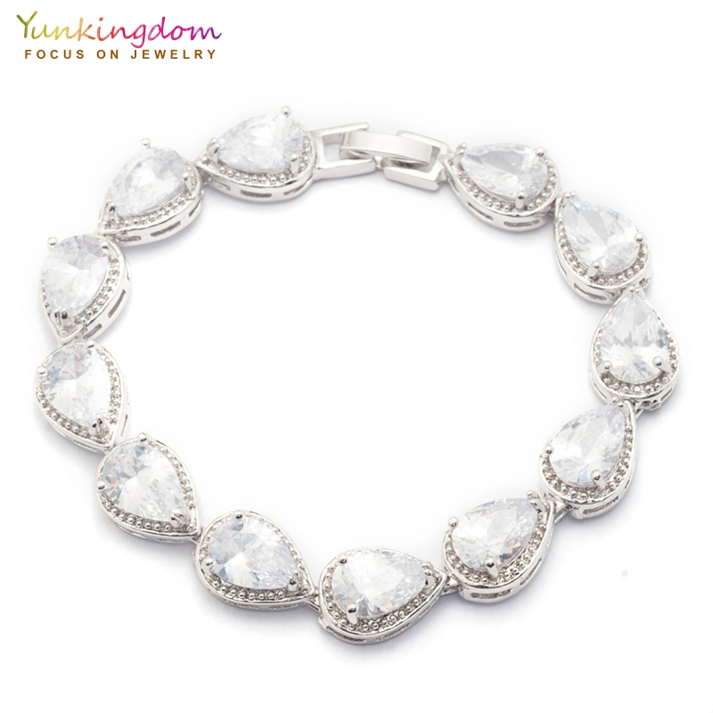 Yunkingdom Anniversary Crystal Bracelets&Bangles for Women White Water Drop Zircon Fashion Wedding Jewelry Chain Bracelet vintage faux crystal water drop sweater chain jewelry for women
