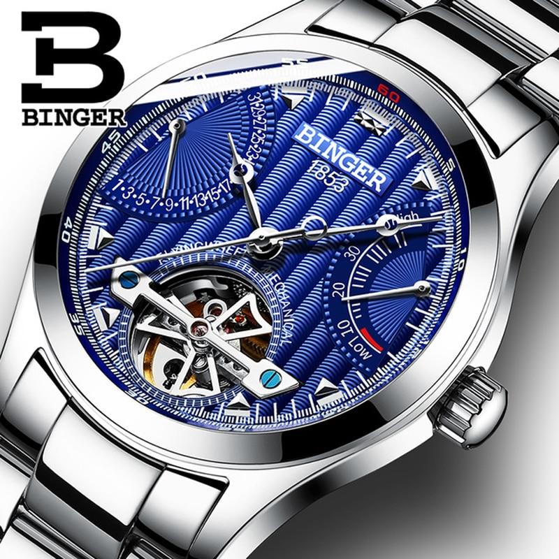 BINGER Mens Watches Top Brand Luxury Automatic Mechanical Watch Energy Tourbillon Wristwatches Waterproof relogio masculino 2018 стенка шведская эко епб 2 4 0 8 olimpciti oc 01969