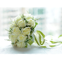 Bridal Bouquet High Quality Ivory Rose Throw Wedding 18 Flowers Bridesmaid Bouquet