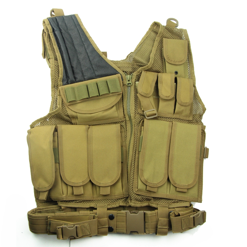 Large Military Beathable Molle Tactical Vest Cs Field Outdoor Supplies Combat Training Vest W/ Gun Holster Belt AK Mag Pouches