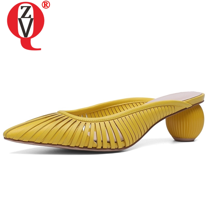 ZVQ sexy Hollow woman s slippers Genuine Leather summer Strange Style Solid yellow white apricot Slides