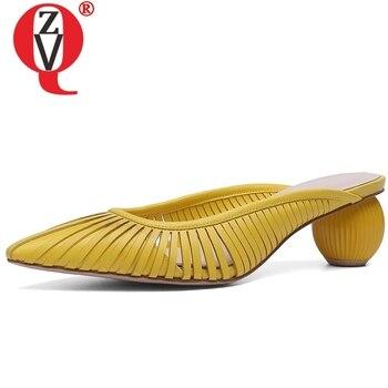 ZVQ sexy hueco zapatillas de mujer de cuero genuino de verano de estilo extraño sólido Amarillo Blanco albaricoque se desliza tacones médicos zapatos Muller