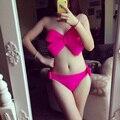 Traje de baño Empuja Hacia Arriba El traje de Baño Bikini Traje de Baño Mujeres Sexy traje de Baño Sólido Arco Grande Bandeau Beach Wear Halter