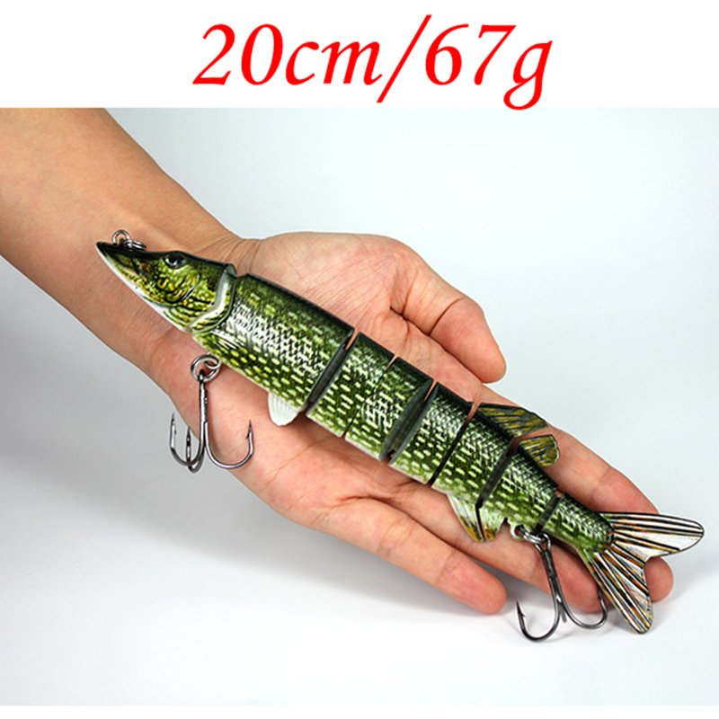 Big Size 20cm 67g Pike Design Lure Fish Bait 8 Section Jointed Lure Sinking Wobbler Vibration Bait Swimbait Fishing Tackle high quality fishing lure fish bait 6 section jointed vib lure 10cm 17g wobbler vibration bait swimbait fishing tackle