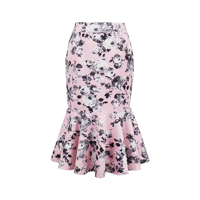 78164ea29a61 Sisjuly Fashion Women 1950s Vintage Floral Print Knee Length Skirt Summer  Trumpet Mermaid Party Skirts Female