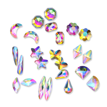 20pcs AB Color Nail Rhinestone Marquise Moon Star Flower Butterfly Manicure 3D Nail Art Decoration for UV Gel Polish DIY