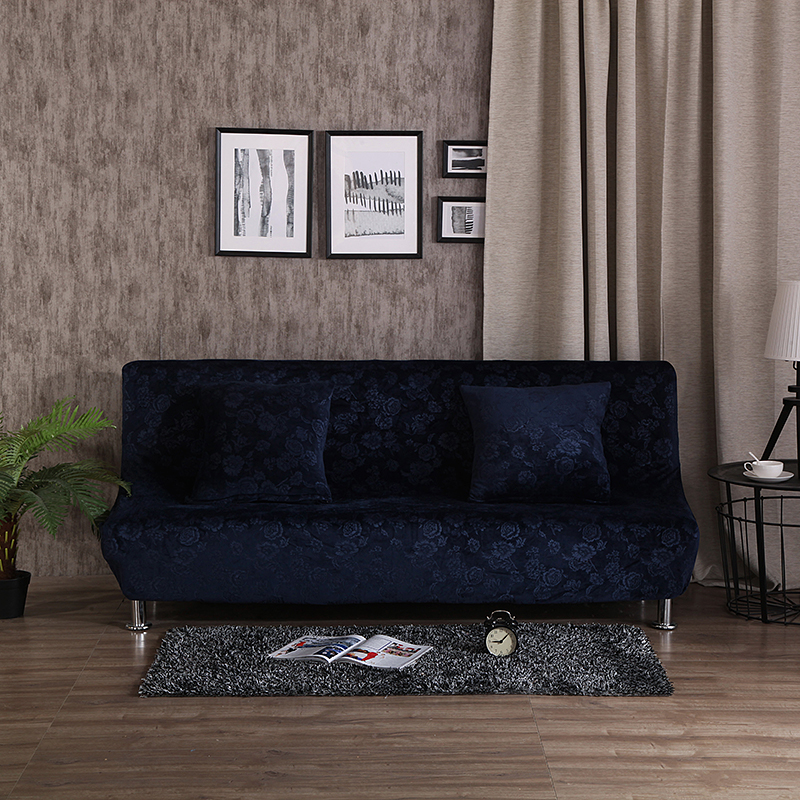 Dark Blue Embossing Furniture Covers For Home Polyester Armless Couch Sofa  Covers For Living Room Machine Washable Slipcover