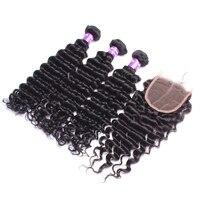 3 Deep Wave Bundles With Closure 4X4 Brazilian Hair Weave Bundles Deal Remy Nature Color Honey Queen Hair Products 4 pcs