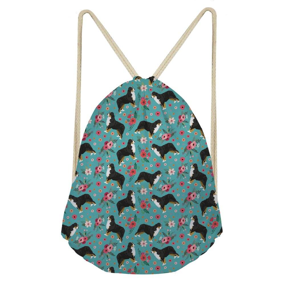 ThiKin Girls Drawstring Bag Portable Bernese Mountain Dog Prints Drawstring Bags Women Storage Shoes Travel Cute Bagpack