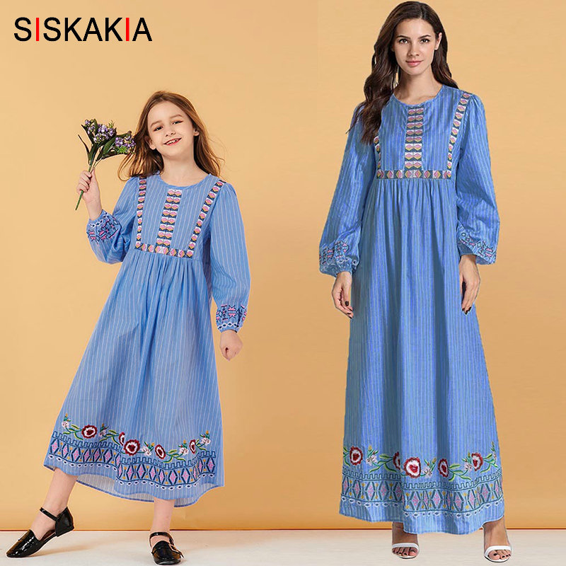 Mother And Daughter Striped Embroidery Long Dress Muslim Parent Child Girl Casual Dresses Long Sleeve Plus Size Autumn 2019 Blue
