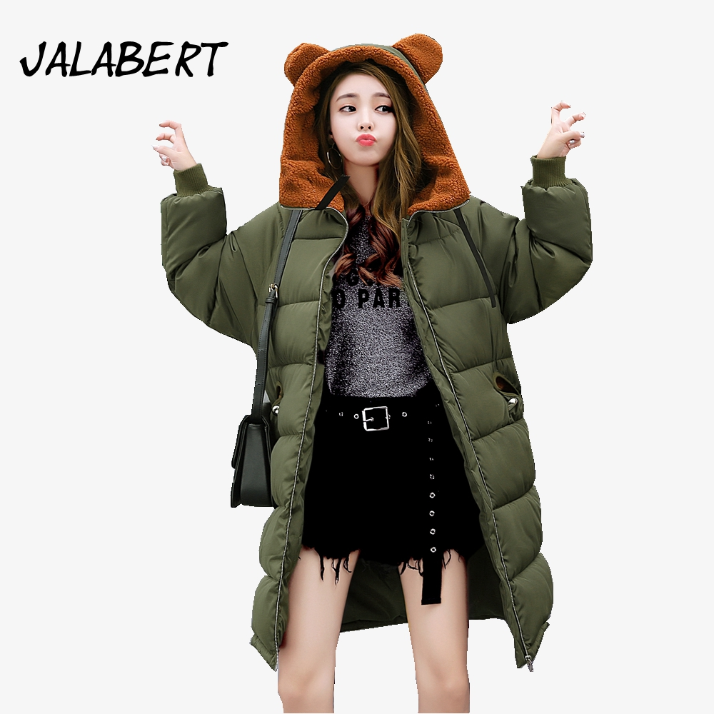 2017 winter new women fashion Slim lambswool cotton jacket female long loose With ears lovely Hooded parka warm solid coat нож порционный tescoma presto длина лезвия 20 см