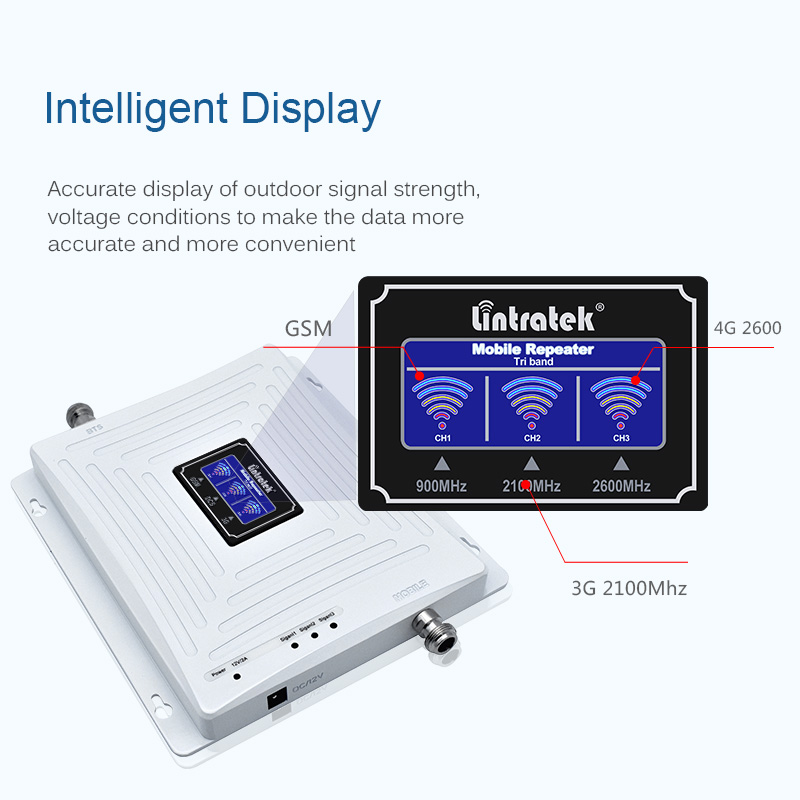 Image 2 - Lintratek Repeater 900 2100 2600Mhz Signal Booster 2G 3G 4G LTE Tri Band Amplifier GSM 900 3G 2100 4G 2600 WITHOUT ANTENNA @7-in Signal Boosters from Cellphones & Telecommunications