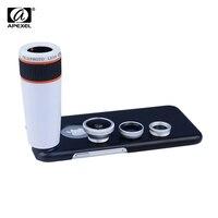 Apexel 전화 렌즈 키트 12x 망원 줌 렌즈 피쉬 아이 & 와이드 앵글 & 매크로 렌즈  아이폰 6 APL-12X85 용 블랙 폰 케이스 포함
