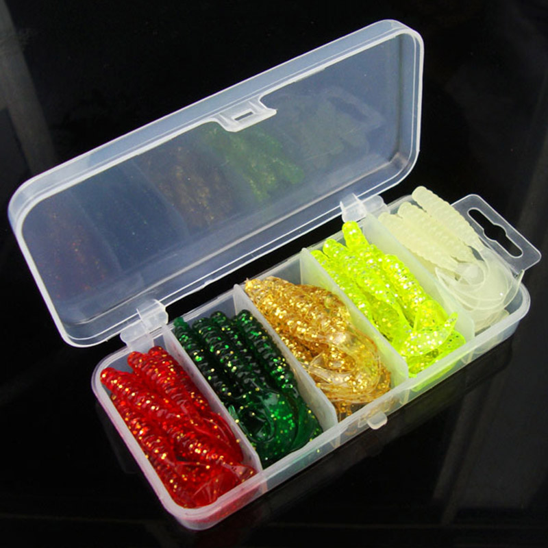 50pcs Fishing Lure 5cm Lead Jig Head Hook Grub Worm Soft Baits Shads Silicone fishing tackle With Box 50pcs mix soft lure grub worm capuchin maggots fishing jig head hook bait set