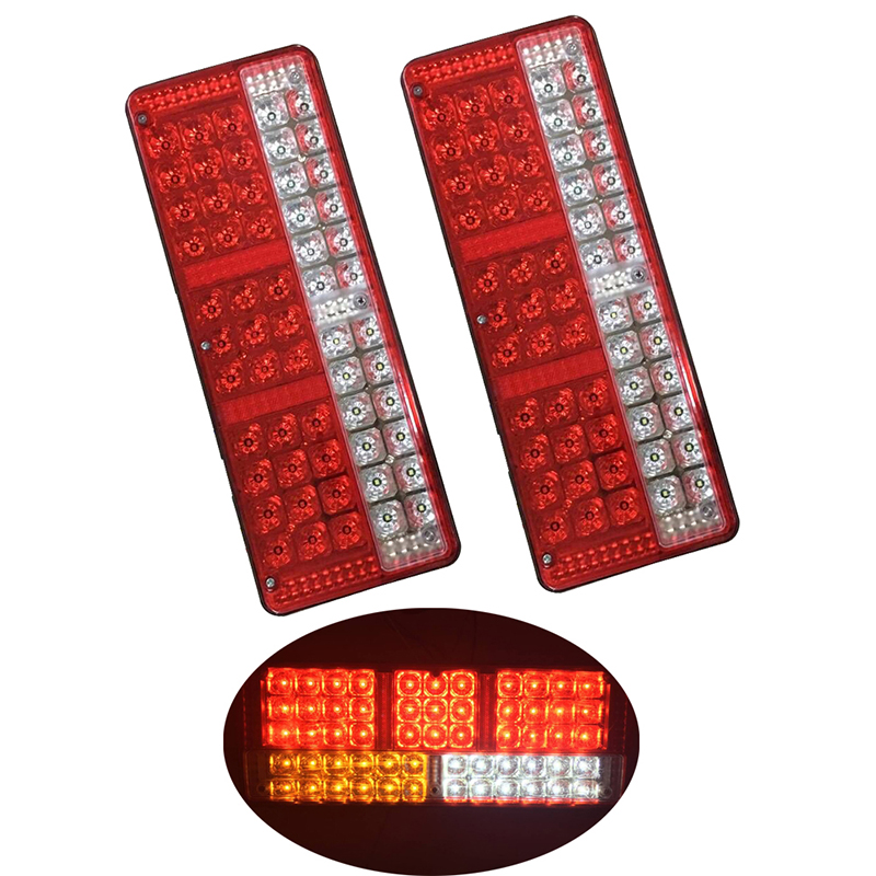 1 Pair Car LED Tail Lights Stop Warning Light Turn Signal Lamp for Truck Trailer Lorry 24V Red Yellow White 1 pair car led lights 12 24v drl head lights 8w turn light strip