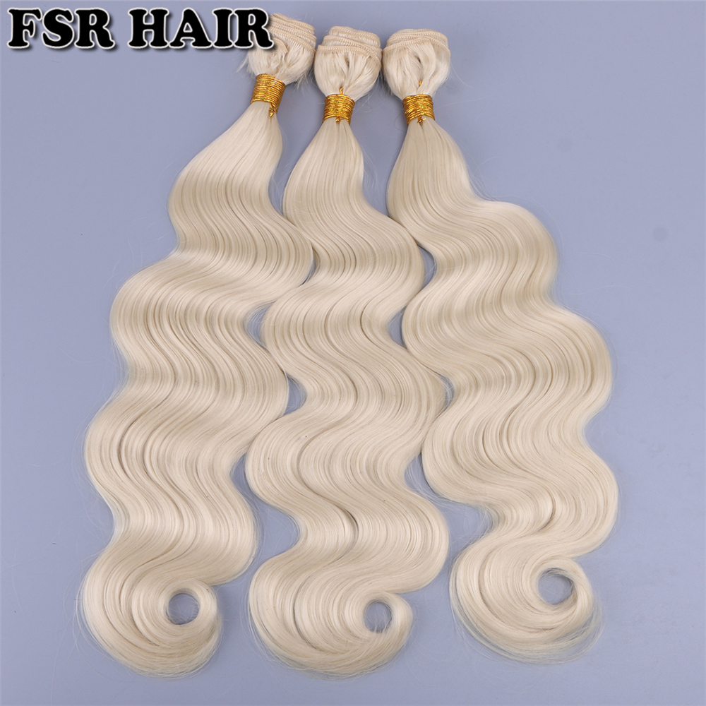 16-26inch 100G 1piece High Temperature Fiber Hair Extensions Color 613 Synthetic Hair Weft Body Wave Hair Bundles For Women