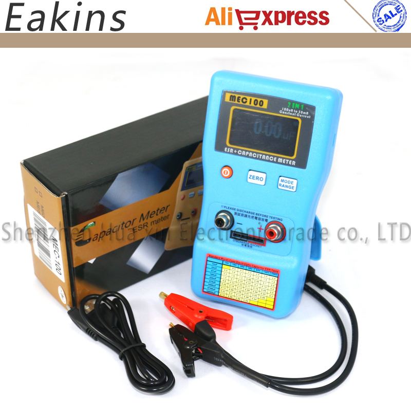2IN1Auto-ranging Capacitor ESR Low Ohm Capacitance Meter Constant Current ESR Capacotance Meter 100vA To 50mA MEC100 Multimeter new products ultra low leakage current faraday capacitor 2 7v3000f 2 7v1200f 2 5v700 specifications 60x130