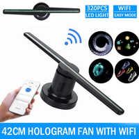 Wifi 3D Hologramm Projektor Fan Holographische Player Werbung Display Fan Ausstellung Projektor 224 LEDs Lustige 42cm Lampe