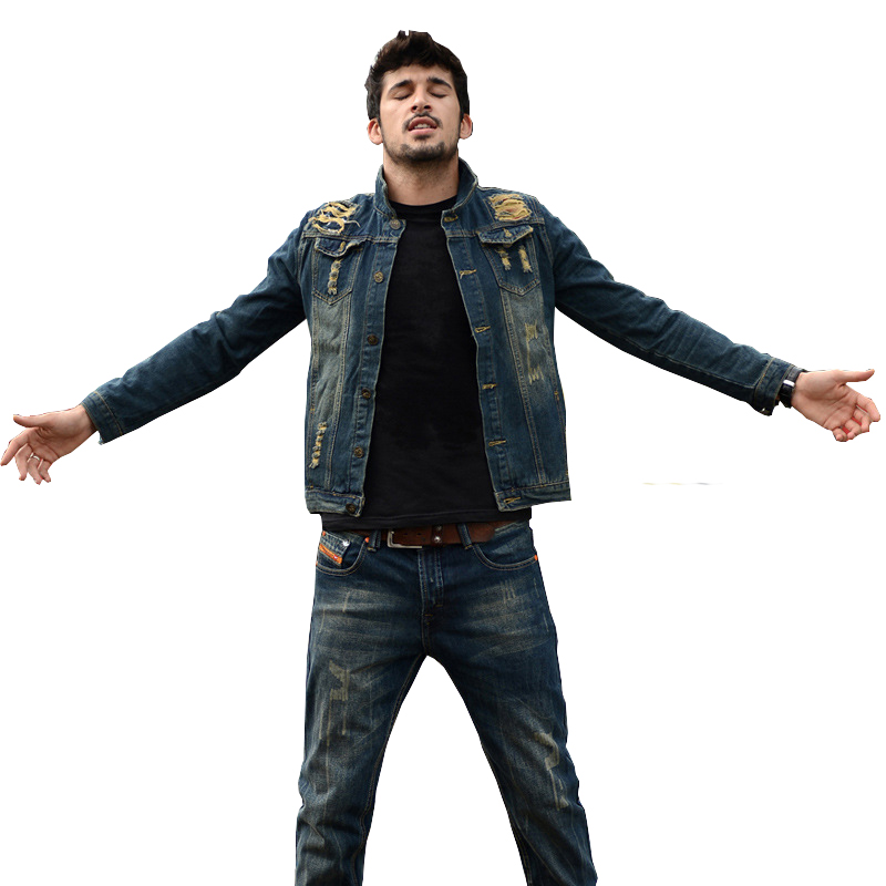 Autumn Mens Denim Jean Jacket Slim Fit Cowboy Chaqueta 3XL Button Youth Denim Jacket Che ...