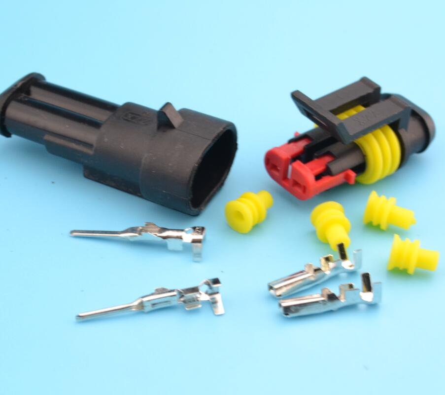 20kits Flame Retardancy 2P Auto Connector Waterproof Automotive Wire Plug 2 Pins Electrical Car Motorcycle HID In Connectors From Home Improvement