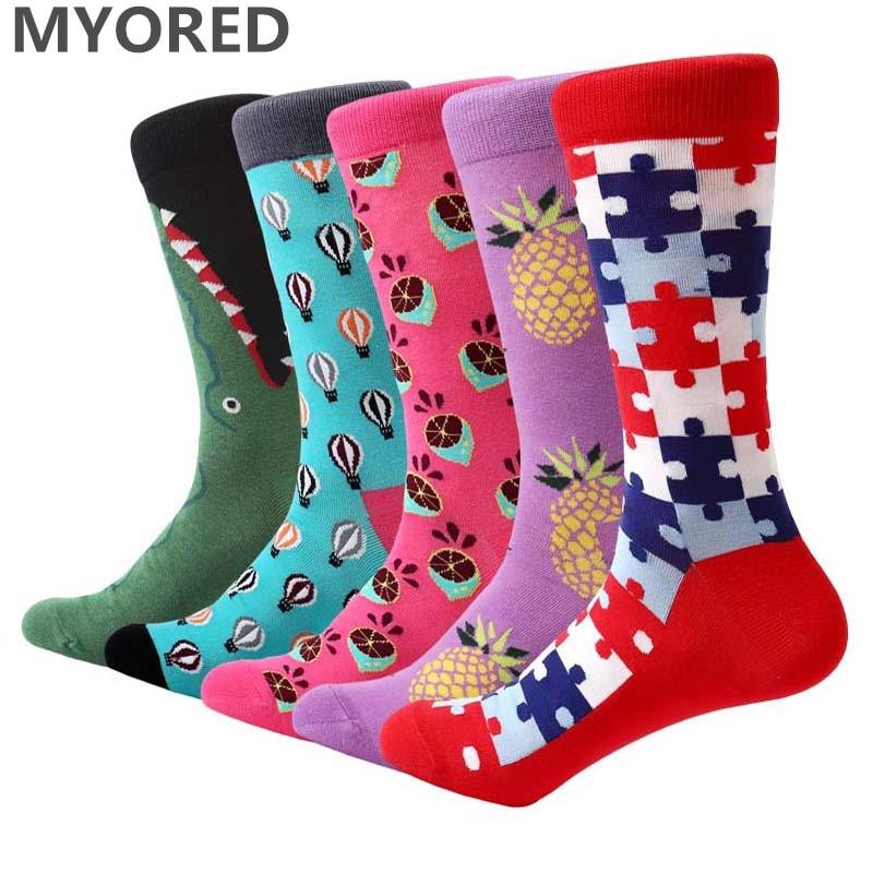 MYORED Funny Long-Socks Dress Men Cartoon Casual Cotton for Couples 5pairs/Lot