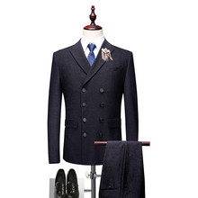 MarKyi good quality 2018 double breasted men suits for wedding spring new 3 pieces mens designers (jacket+vest+pant)
