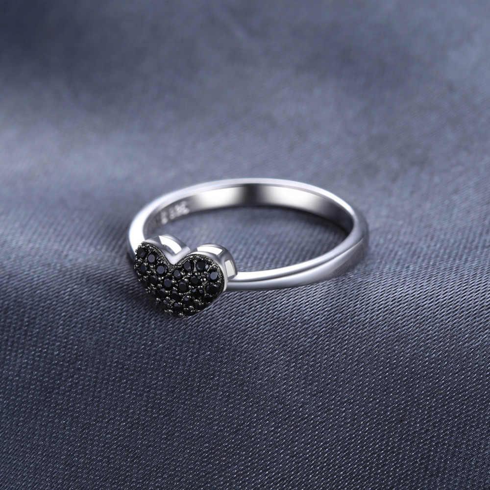 JewelryPalace 심장 자연 블랙 스피넬 반지 여성을위한 925 스털링 실버 반지 약혼 반지 실버 925 보석 쥬얼리