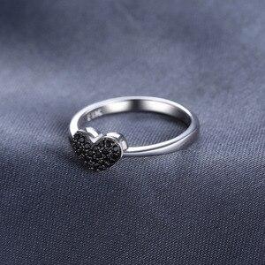 Jewelrypalace модные 0.14ct естественным черной шпинели сердце любовь Кольца для Для женщин 100% стерлингового серебра 925 Свадебные подарки Красивые ювелирные изделия