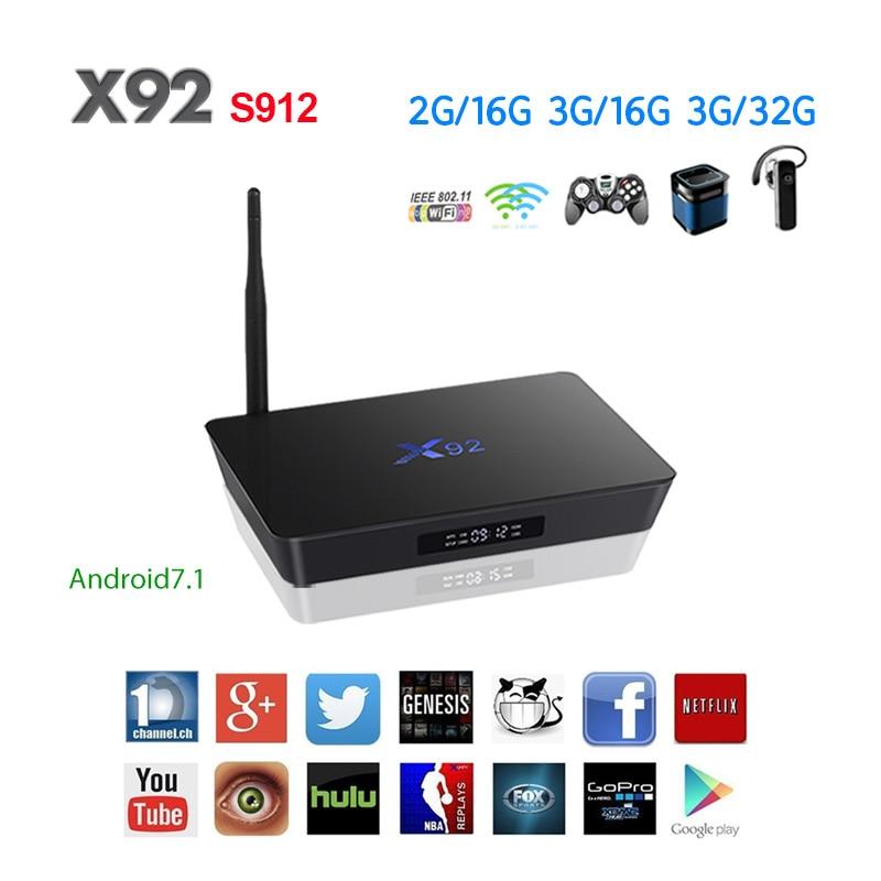 X92 TV Box Android 7.1 Amlogic S912 Octa Core 2 gb/16 gb 3 gb/32 gb 5g Wifi 4 k Bluetooth H.265 Avec USB 2.0 Smart Set Top Box PK T9