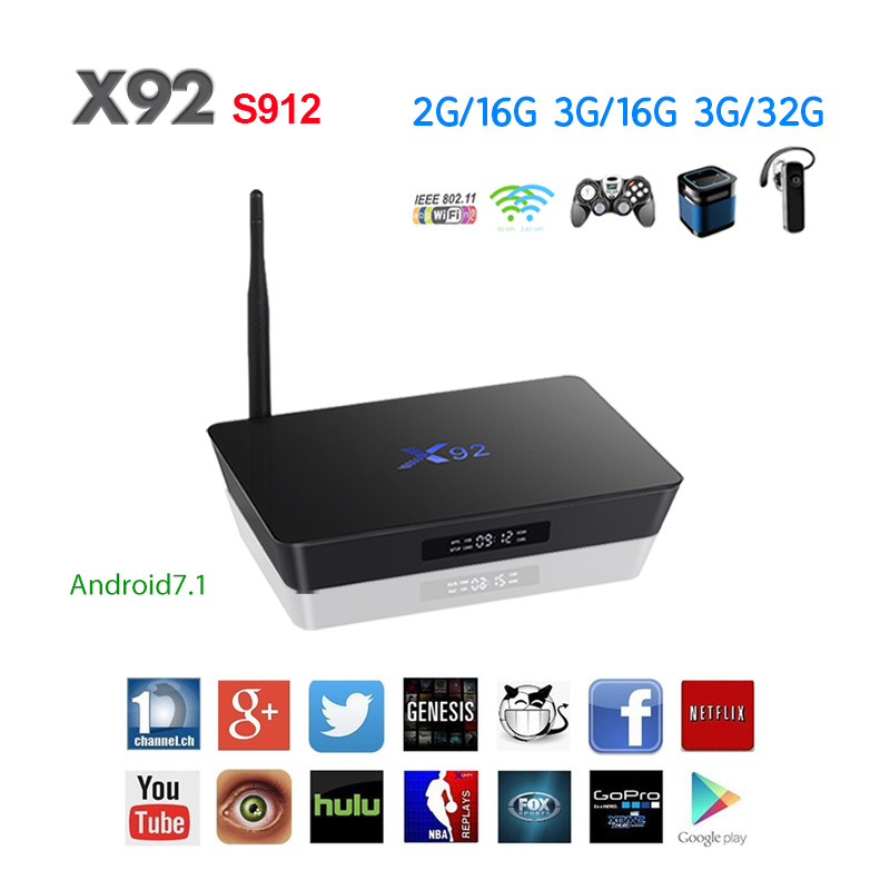 X92 TV Box Android 7.1 Amlogic S912 Octa Core 2GB/16GB 3GB/32GB 5G Wifi 4K Bluetooth H.265 With USB 2.0 Smart Set Top Box PK T9